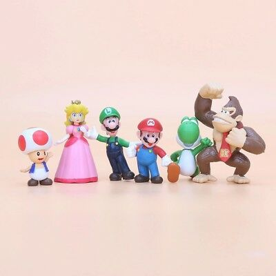 6 x Super Mario Characters Figures Birthday Cake Toppers Toy Luigi Peach Toad UK