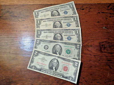 Lot of 5 Mixed Circulated Small Size Notes $1-1957, A, B & $2 Red & Green Seals