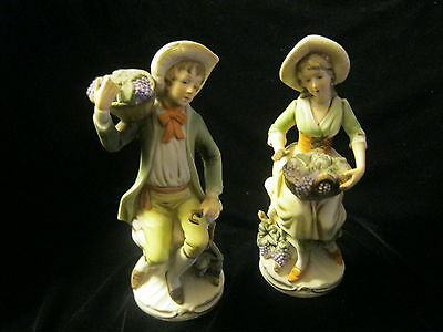 Homco C 1258 Couple  Figurines With Baskets Of Grapes  - Japan