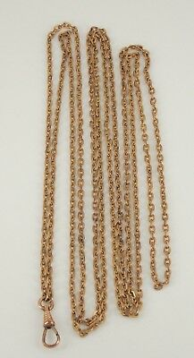 """Vintage / Antique Victorian Heavy Gold Filled Watch Chain 59.5"""" Long"""