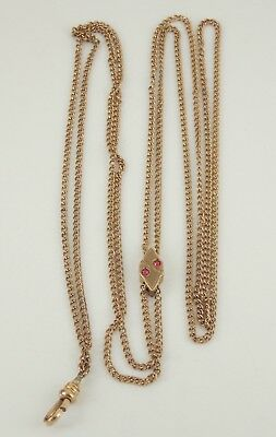 """Vintage / Antique Victorian Gold Filled Watch Chain With Slide 48.5"""" Long"""