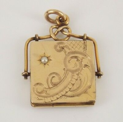 Vintage / Antique Victorian Gold Filled Pearl Locket Pendant / Watch Fob