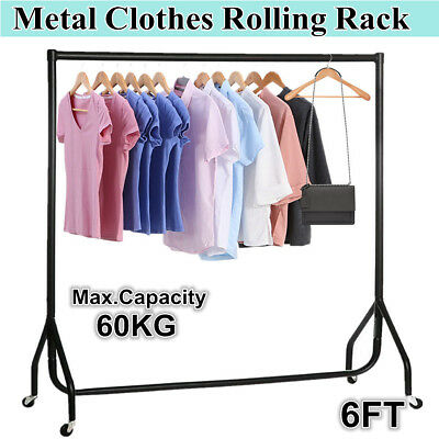 6FT Clothes Rack Garment Rolling Display Portable Rail Clothe Metal Dryer Stand
