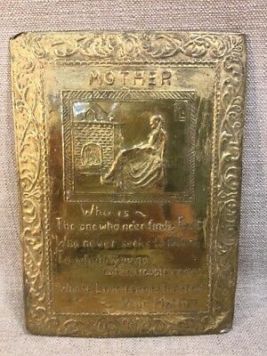 """Antique Brass Tin Plaque Christian Wall Hanging MOTHER Poem 11""""x8"""" Vintage"""