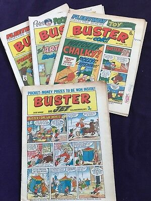 """UK Comic """"BUSTER & JET"""" from 1971 & 3 Issues Of """"BUSTER and COR!!"""" from 1975"""