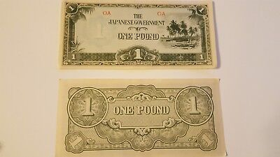 1 One Pound Oceania Japanese Invasion Money Banknote Bill Note Cash Wwii Ww2 Vf+