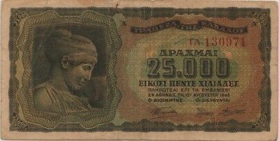 (2) 1943 Greece Drachma Banknotes (25,000 & 5,000)