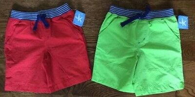 NWT LOT OF TWO PAIRS OF SHORTS BOTH SIZE 4T Red & Lime Green Total MSRP $40.00