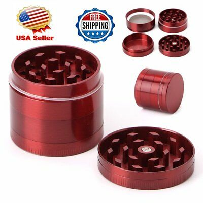 Red Herb Spice Grinder 4 Piece Herbal Alloy Smoke Tobacco Metal Chromium Crusher