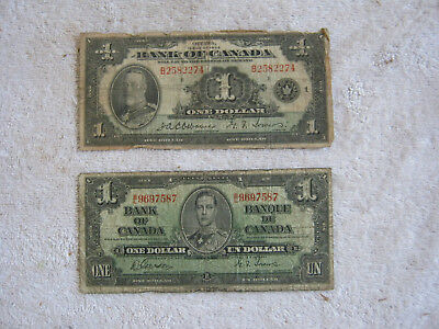 Two (2) Canadian (1935/1937) $1.00  Collector Items