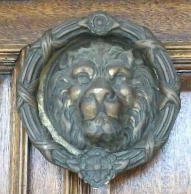 "Antique Style Vintage Large Solid Brass Lion Head Door Knocker - 8"" diameter"