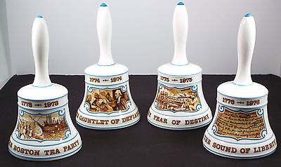 Lot Vtg Hammersley 4 Bell Set 1973-1976 Bone China The Sound Of Liberty - Boston