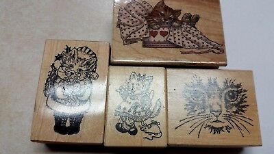 Lot of 4 Winter Christmas CAT  Holiday Wood Mounted Rubber Stamps