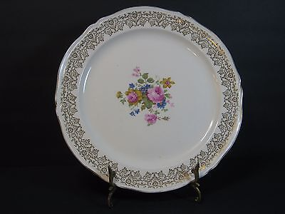 EDWIN M. KNOWLES CHINA Co, ROUND PLATTER, GOLD FILIGREE, FLORAL/ROSES, 12.25""