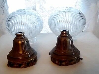 Pair of Vintage Ornate L&L WMC Brass Light Clear Glass Dotted Globes Sconces