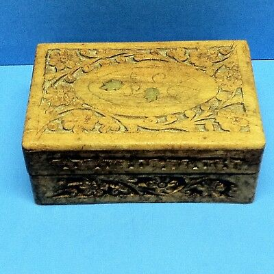Vintage Sheesham Hand-Carved Wooden Trinket Jewelry Box Small Chest India Floral