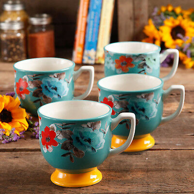 Pioneer Woman Flea Market 15 oz Footed Decorated Mugs,TurquoiseYellow set of 4