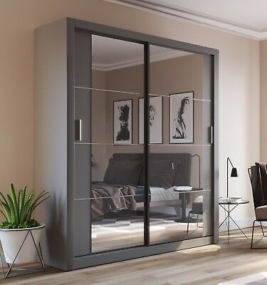 Brand New Modern Bedroom Sliding Door Mirror Wardrobe Arti 3 181cm in Grey