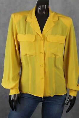 Christian Dior Chemises Vintage Yellow Blouse Button Down Fitted L/S Shirt Sz 6