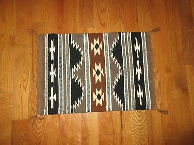 Vintage Native American Indian Hand Woven Small Black Brown Grey Rug Blanket