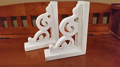 PAIR of Old Scroll Design Wood Corbel Shelf Mantle Brackets Bookends Distressed