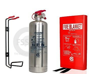 Premium 1 Kg Abc Powder Silver Chrome Fire Extinguisher Office Kitchen + Blanket