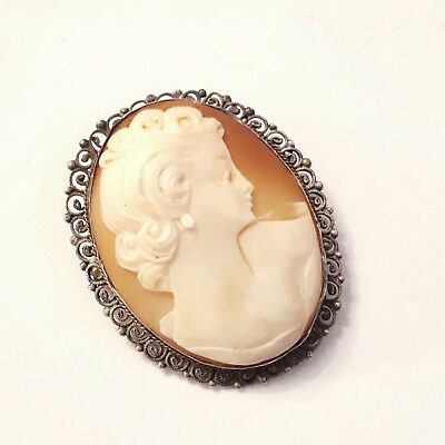 Antique Large Solid 930 Silver Carved Shell Cameo Brooch Pendant Vtg Jewellery