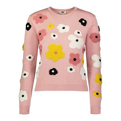 Yal Ny Womens Long Sleeve Pink Knit Spring Summer Fashion Sweater Top Floral