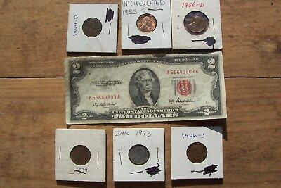 1953 A  2 Dollar Bill & 6 Wheat Penny 1934 1943 zinc 1946 S 1949 D 1955 S 1956D