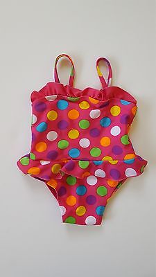 Girl's Pink Purple Green Polka Dots One-Piece Swimsuit, 12-18 Months, Sportek