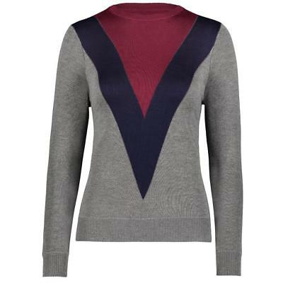 YAL NY Womens Color Block Stripe Sweater Pullover Casual Grey Red Long Sleeve