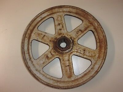 "Vintage 11"" Steel Spoked V-Belt Pulley Gear Industrial Steampunk  Decor"