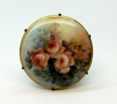 Antique Victorian Hand Painted Porcelain Pink Roses Portrait Brooch Pin