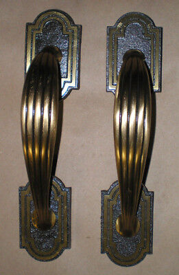 Vintage Antique Art Deco Solid Brass Heavy Metal Door Pull Handle Set of 2