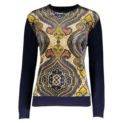 YAL NY Womens Mixed Media Velvet Print Blue Sweater Top Long Sleeves Pullover