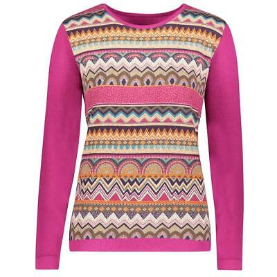 YAL NY Women Berry Pink Long Sleeve Casual Sweater Top Sweet Print Pullover Knit