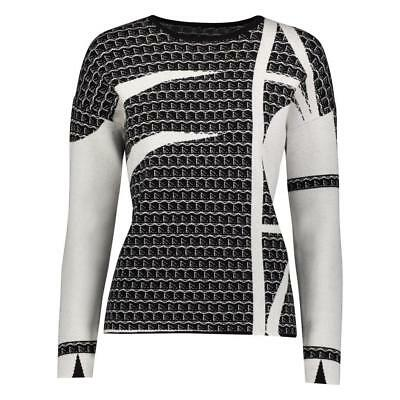 YAL NY Women Long Sleeve Dressy Printed Sweater Black White Pullover Sweater Top