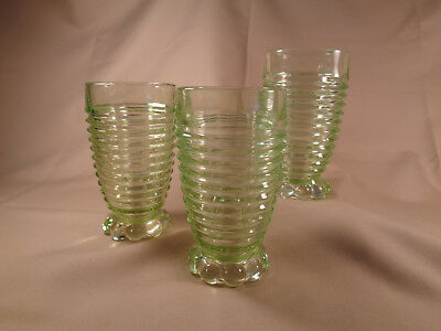 """3 Vintage Manhattan glass 5 1/4"""" green ribbed footed tumblers Anchor Hocking?"""