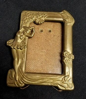 Brass Art Nouveau Style Picture Frame Ballerina Flowers
