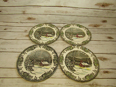Lot of 4 The Friendly Village Johnson Bros Dinner Plates The School House