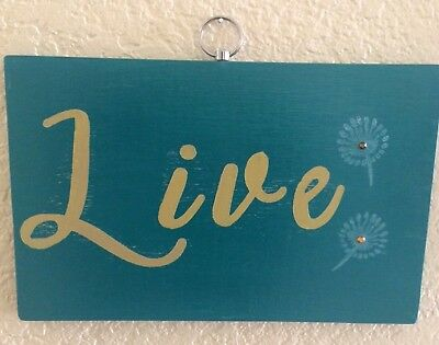 live love laugh wood plaques teal mustard gold handmade home decor wall signs 3