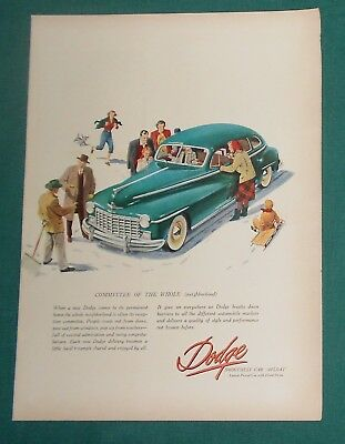 (3) Original Dodge Car Print Ads   1947 - 1949 - 1956