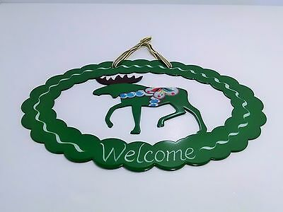 "GREEN SWEDISH DALA MOOSE Hand Painted Metal ""Welcome"" Sign by Grannas Olssons"