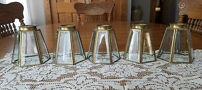 "5 Vintage Brass & Beveled Glass 6 Paneled  Light Globes Sconces Shades 4.75""T"