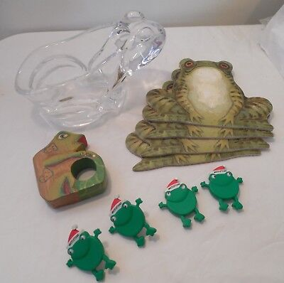 Lot of Frogs Frog Lovers Glass Candy Planter Dish Coasters Napkin Ring Button Co