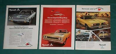 (3) Original Plymouth Car Print Ads - 1969 Road Runner - 1967 Barracuda