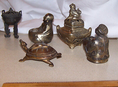 VTG Antique lot Copper Brass Bronze incense burner Turtle Buddha Confucius Foo