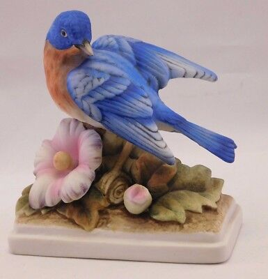 Lefton Porcelain Bird with Pink Flower Blossom KW-864 Blue Bird