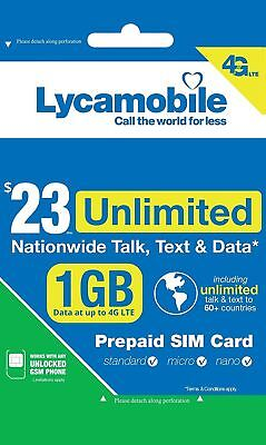 Lycamobile Preloaded Sim Card with $23 Plan Service Plan with Unlimited talk txt