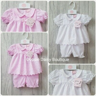 Baby Girls Gorgeous White & Pink Broderie Anglaise Dress Set & Bloomers ☆
